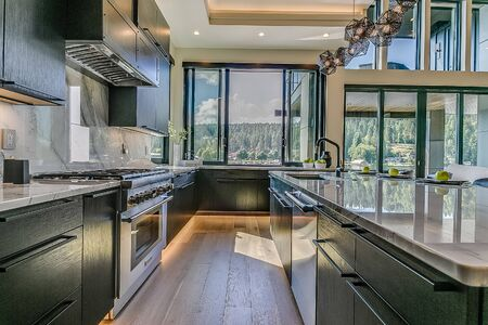 Kitchen galley with pass through window to back patio