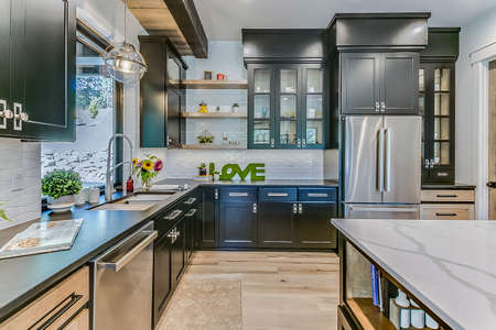 Modern appliances and amenities in newly built kitchen and home 写真素材