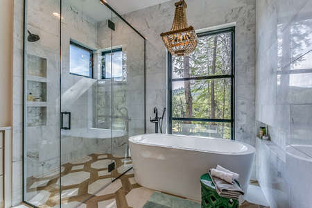 Amazing bathroom suite with freestanding tub and elegant shower