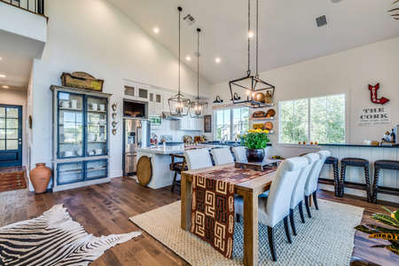Uniquely decorated kitchen with lots of detail and trim