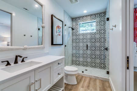 Decorative and stylish bathroom in newly built home