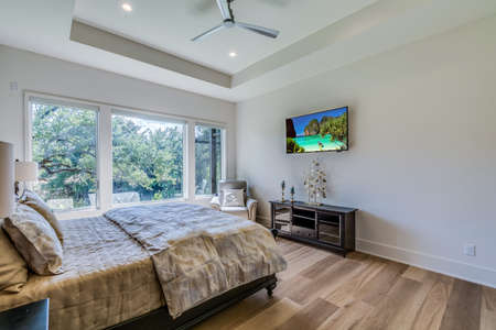 Beautiful bedroom with tray ceiling and ceiling fan with natural sunlight coming through the window
