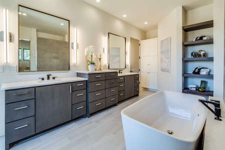 Beautiful rectangle-shape free standing bathtub in the center of the bathroom with double sinks and vanities