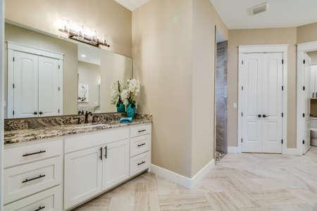 A very stylish design for a powder or bathroom.