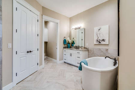 A very attractive bathroom because of it's clean and unique style.