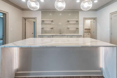 A very durable counter tops for a kitchen island.