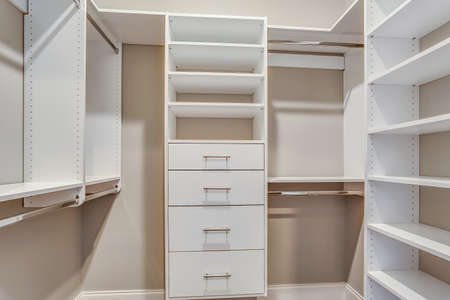 A very clean and big shelves for clothes.