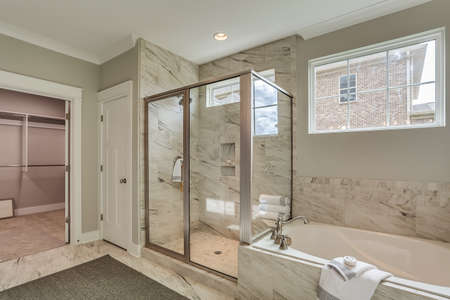 Well planned bathroom with clean white paint.