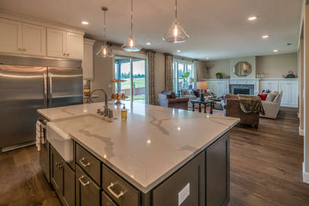 A lovely and remarkable kitchen with the island.