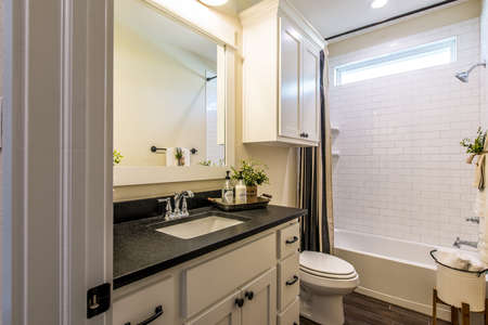 Light view for a simple bathroom.