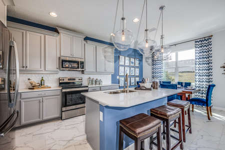 Kitchen island with best view of cabinets.