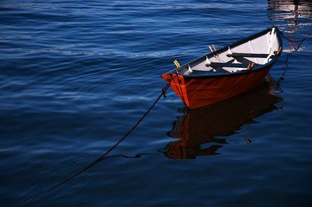 A row boat anchored close to shore