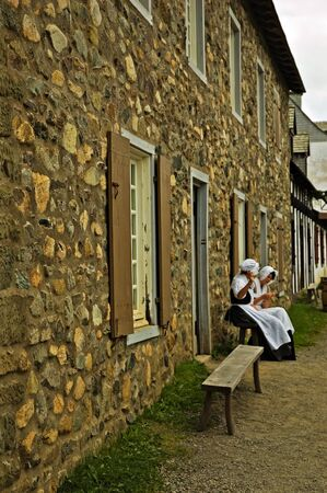 documented: Girls of Louisbourg taking a quick break to have a talk