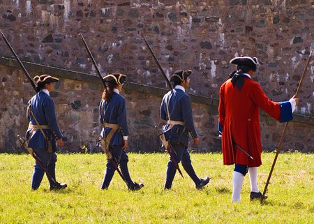 Louisbourg Soldiers preparing to fight a battle