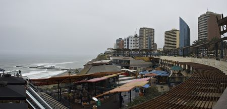 miraflores district: Modern cliffside shopping complex in the Miraflores district of Lima, Peru