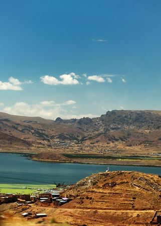 A view of mountains and a lake in Peru, south america