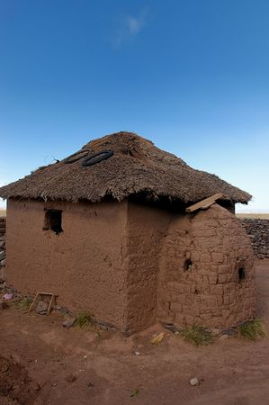 A mud home typical of a peruvian highland family Stock Photo