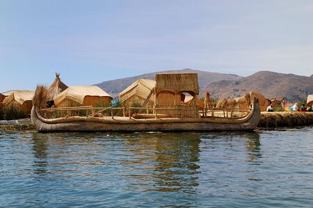Reed boat from a Floating Uros Island on Lake Titicaca in Peru