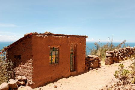 typical: A Typical Tequile Island mud home on Lake Titicaca, Peru Stock Photo