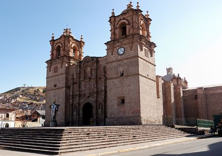 A peruvian Cathedral in the main square of Puno, Peru Stock Photo