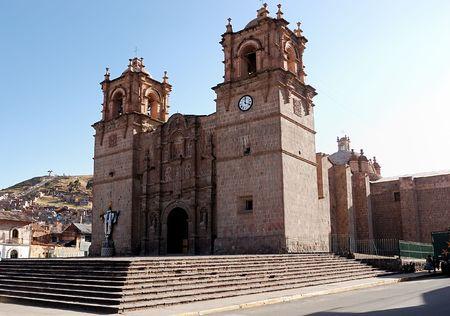 A peruvian Cathedral in the main square of Puno, Peru Stock Photo