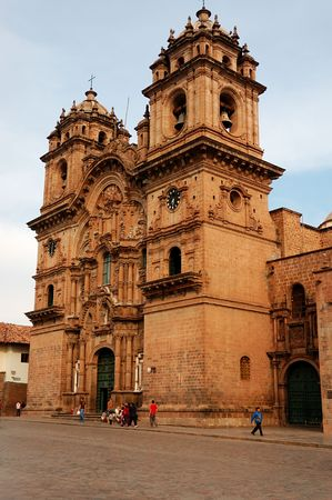 A peruvian Cathedral in  the main square of Cusco, Peru Stock Photo