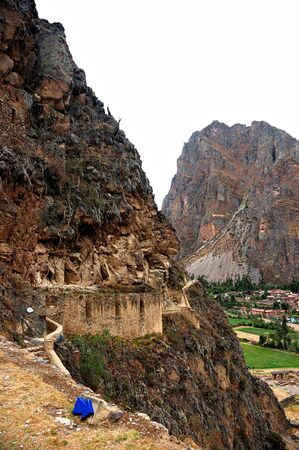 A  view of the small town of Ollantaytambo from the Inca ruins Stock Photo