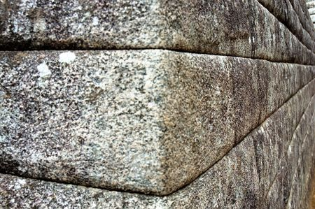 Inca Stone Wall Corner in Machu Picchu