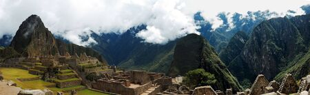 Machu Picchu Panarama with Wyna Picchu to the left Stock Photo