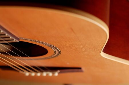 closeup details of an acoustic wooden guitar Stock Photo - 2078707