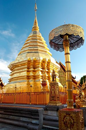 Buddhist temple in Bangkok, Thailand, isolated