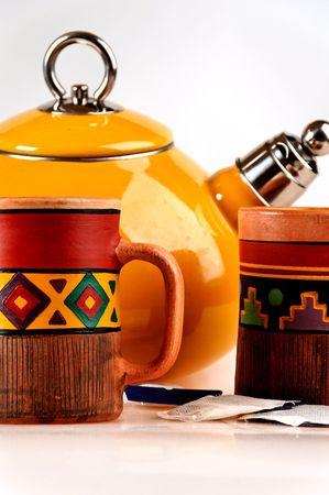 tea pot with handmade mugs