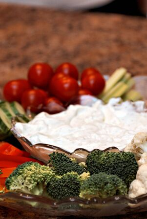 vegetable party tray with cream dip