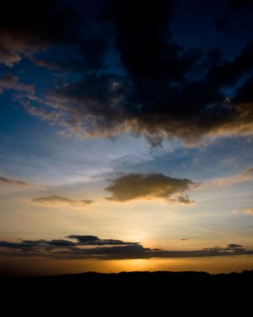 sunset in costa rica on pacific coast Stock Photo