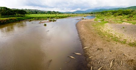 View of river and mountains of Costa Rica Stock Photo