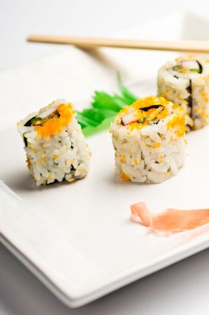 square plate of sushi isolated on white Stock Photo