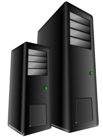 Computer towers on white background photo