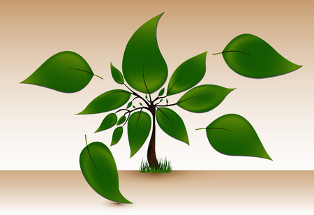 saved: Vector tree with dark trunk and big green leaves. It stands on grass. Made with transparencies and saved in EPS10.