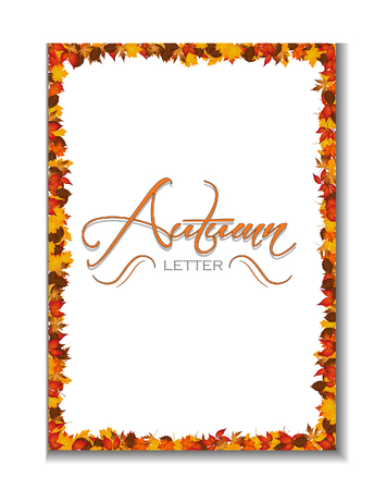 fully editable: Autumn letterhead background with autumnal leaves. Vector, fully editable eps file.