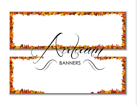 autumnal: Autumn banners with autumnal leaves vector Illustration