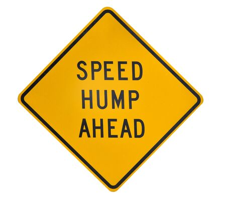 hump: Road sign speed hump ahead on yellow dimomnd square
