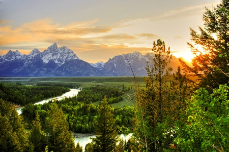 Grand Teton at Snake River overlook Stock Photo