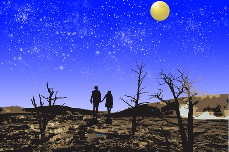 Couple  married walking together under full moon and death tree photo