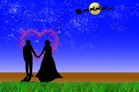 wedding night under full moon with santa claus and reindeer Stock Photo - 8477659