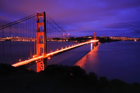 San Francisco Golden Gate Bridge Dämmerung Sonnenuntergang viele Wolken
