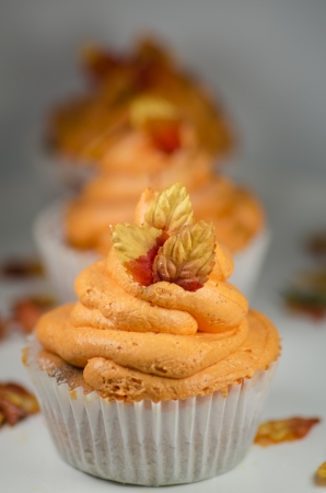 Autumn cupcakes with a spiral pattern and orange texture topped with a sprig of colourful autumn or fall