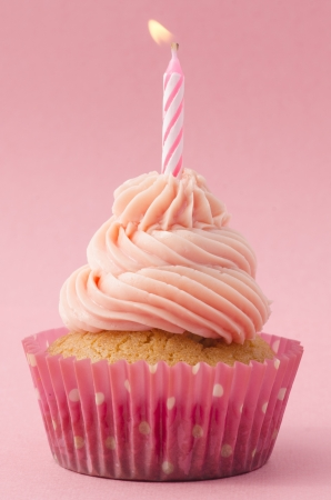 Decorative birthday cupcake with twirled icing and a single burning candle on a pink background