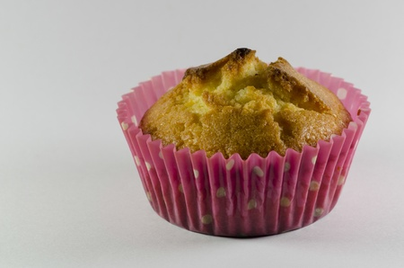 Closeup of a delicious freshly baked golden cupcake or muffin in a pink dotted cup on a neutral studio background