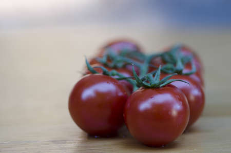 Closeup with shallow dof of a bunch of ripe red grape tomatoes on the vine with copyspace