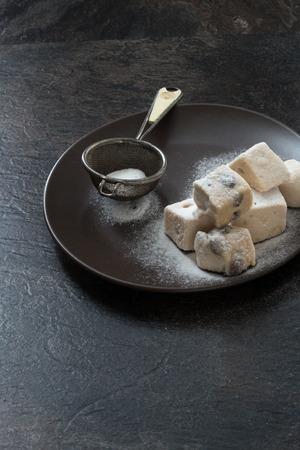 Port Wine and raising marshmallow Stock Photo
